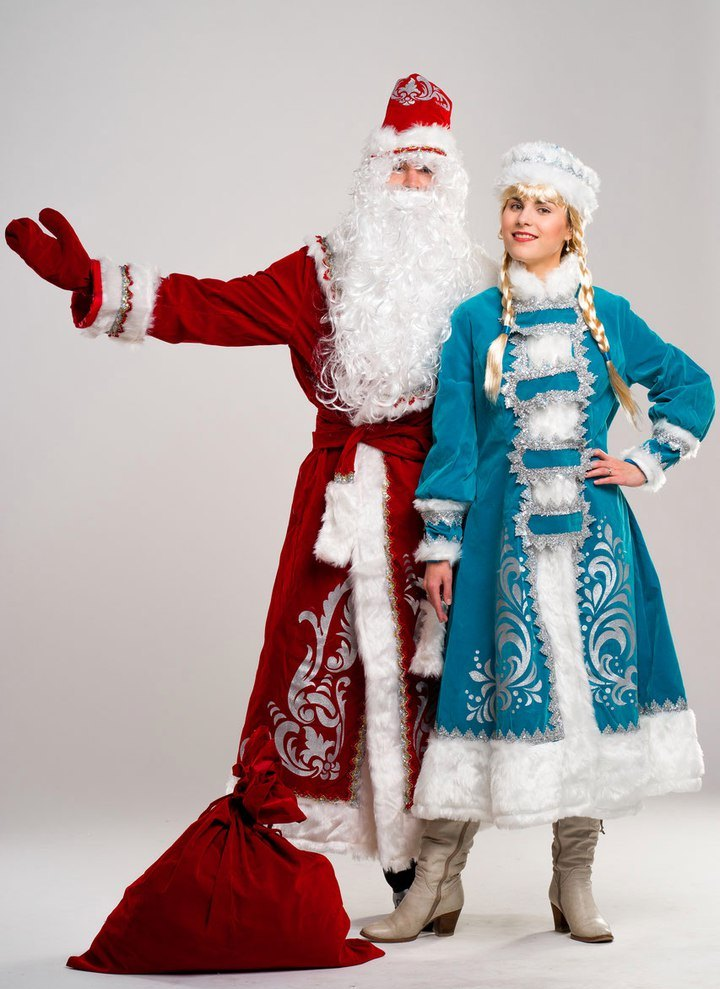 Дед Мороз и Снегурочка в костюме Аппликация.